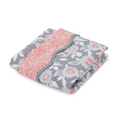 Balboa Baby® Mix & Match Quilted Cotton Coverlet in Grey Dahlia/Coral Bloom