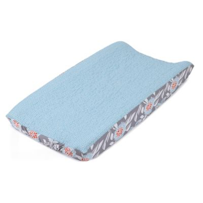 Balboa Baby® Quilted Changing Pad Cover in Grey Dahlia/Aqua Dot