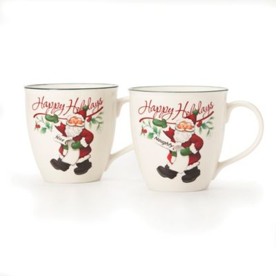 "Pfaltzgraff® Winterberry 2-Piece ""Naughty"" and ""Nice"" Mug Set"