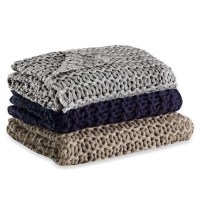 Kenneth Cole Reaction Home Chunky Knit Throw in Grey