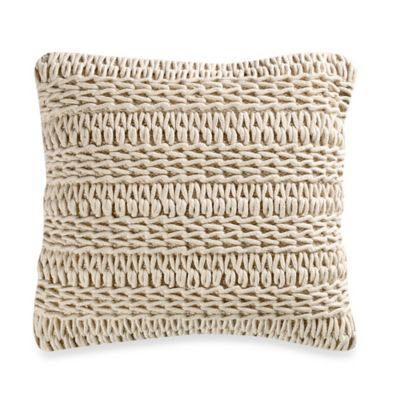 Downy Stripe Square Throw Pillow in Ivory