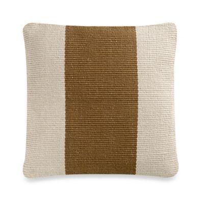 Cedric Caramel Square Throw Pillow in Stone