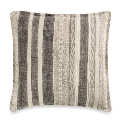 Indie Striped 18-Inch Square Throw Pillow in Stone