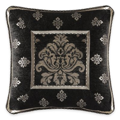 J. Queen New York Portofino Framed Square Throw Pillow in Black
