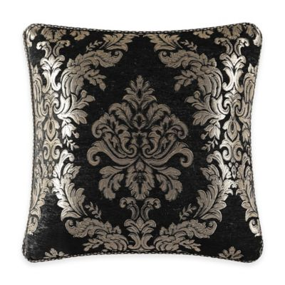 J. Queen New York Portofino Damask Square Throw Pillow in Black