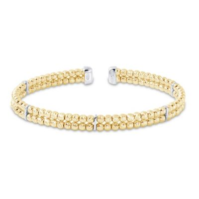 Charles Garnier Diamantini Gold-Plated Sterling Silver 6.5-Inch 2-Row Cuff Bracelet with 3mm Beads