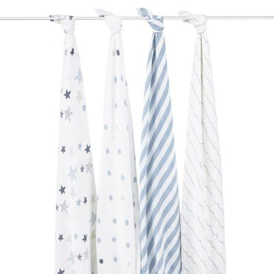 aden® by aden + anais® Rock Star 4-Pack Classic Muslin Swaddle Blankets in White/Blue
