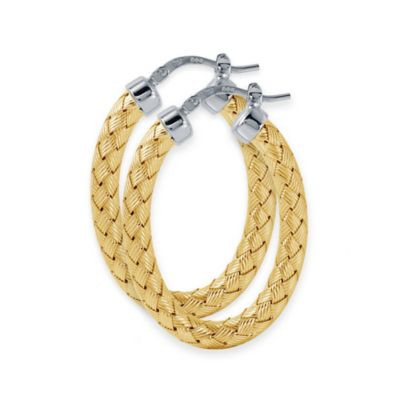 Charles Garnier Paolo 18K Gold-Plated Sterling Silver 35mm Woven Oval Hoop Earrings