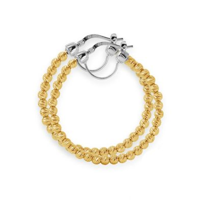 Charles Garnier Paolo Sterling Silver and Yellow Gold 35mm Hoop Earrings