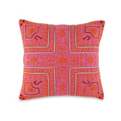 Anthology® Happy Indigo Square Throw Pillow in Pink