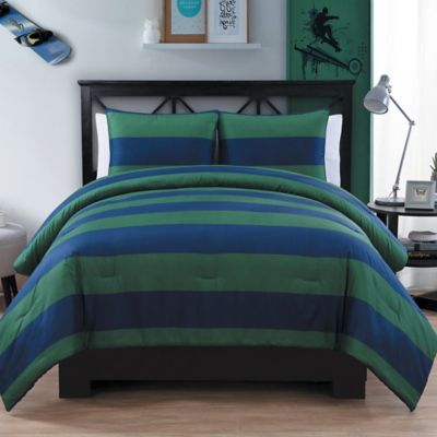 Rugby 2-Piece Twin/Twin XL Comforter Set in Orange/Blue