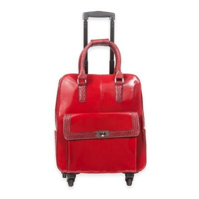 Hang Accessories Jacqueline Trolley Bag with 360-Degree Wheels in Crimson Rose