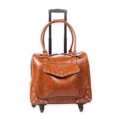 Hang Accessories Studded Trolley Bag with 360-Degree Wheels in Cognac