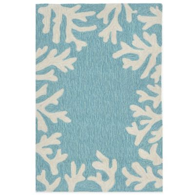Trans-Ocean Capri Coral Border 2-Foot x 8-Foot Indoor/Outdoor Runner in Beige