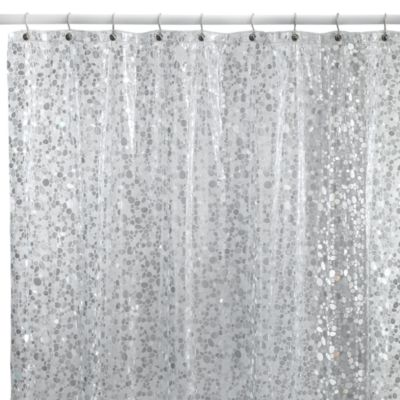 Pebbles Silver 72-Inch x 72-Inch Vinyl Shower Curtain