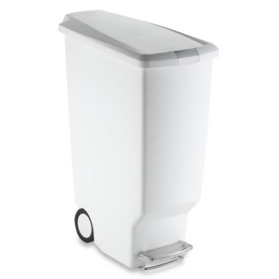 simplehuman® Slim Plastic 40-Liter Step-On Trash Can in White
