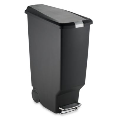 simplehuman® Slim Plastic 40-Liter Step-On Trash Can in Black