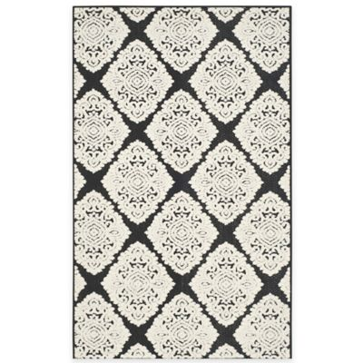 Safavieh Cottage Diamond Damask 3-Foot 3-Inch x 5-Foot 3-Inch Indoor/Outdoor Rug in Black