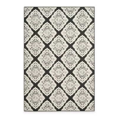 Safavieh Cottage Diamond Damask 6-Foot 7-Inch x 9-Foot 6-Inch Indoor/Outdoor Rug in Black