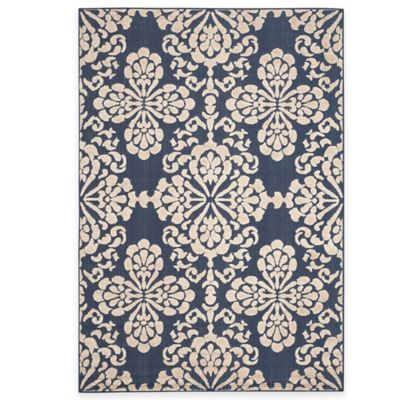 Safavieh Cottage Floral Damask 8-Foot x 11-Foot 2-Inch Indoor/Outdoor Rug in Navy