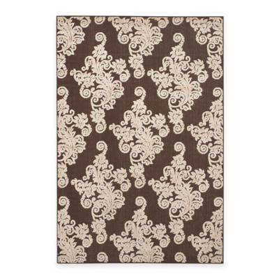 Safavieh Cottage Damask 6-Foot 7-Inch x 9-Foot 6-Inch Indoor/Outdoor Rug in Brown