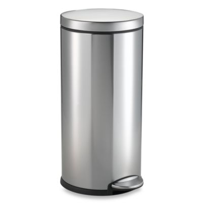 simplehuman® Brushed Stainless Steel Fingerprint Proof Round 30-Liter Step Trash Can