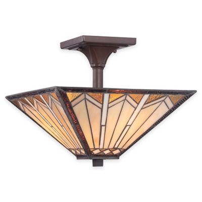 Illumina Direct Wyatt Tiffany-Style 2-Light Semi-Flush Mount Lamp in Russet with Glass Shade