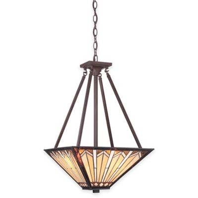 Illumina Direct Wyatt Tiffany-Style 3-Light Inverted Pendant Lamp in Russet with Glass Shade