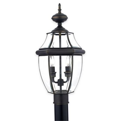 Illumina Direct Oliver Large Outdoor 2-Light Post Lantern in Medici Bronze