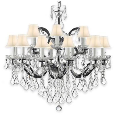 White Iron and Crystal Chandelier