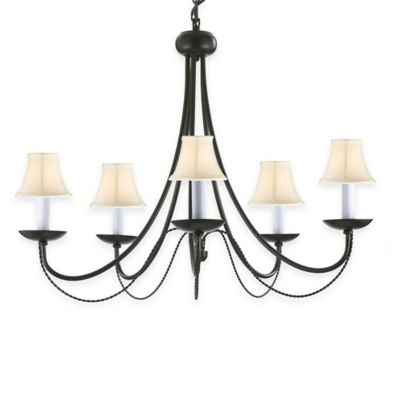 Gallery Empress Wrought Iron 5-Light Chandelier with Black Shades