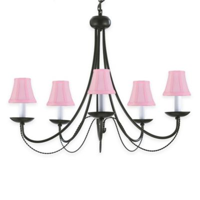 Gallery Empress Wrought Iron 5-Light Chandelier with Pink Shades