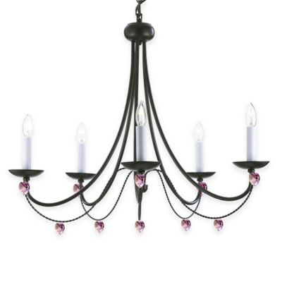 Gallery Versailles 5-Light Wrought Iron Crystal Chandelier with Pink Hearts
