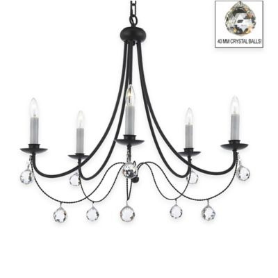 Gallery Versailles 5-Light Wrought Iron Crystal Chandelier with 40mm Crystal Balls in Black