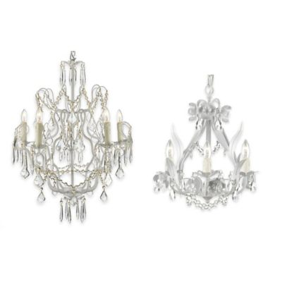 Gallery 4-Light Wrought Iron Floral Swag Crystal Chandelier in White