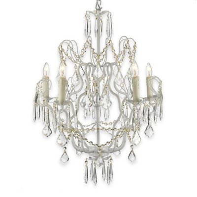 Gallery 5-Light Wrought Iron Swag Crystal Chandelier in White