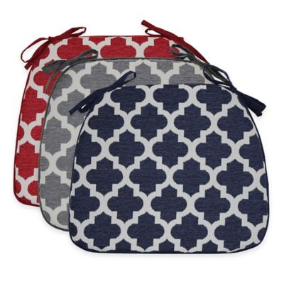 Moroccan Trellis Waterfall Chair Pads in Navy (Set of 2)