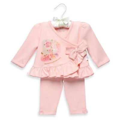 "Anne Geddes Size 3M 2-Piece ""Protect Nurture Love"" Cotton Pant Set in Light Pink"
