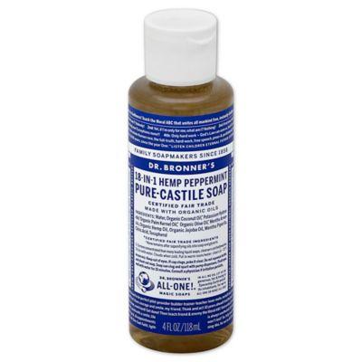 Dr Bronner's 4 oz. 18-in-1 Pure-Castile Liquid Soap in Peppermint