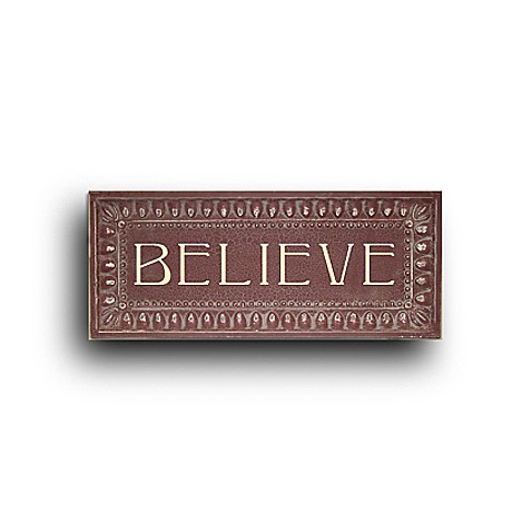 Metal 10-Inch x 24-Inch Believe Christmas Plaque