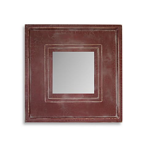 Square Mirror in Plain Red