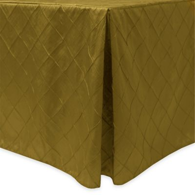 Bombay Diamond-Stitched Pintuck Indoor/Outdoor Fitted 6-Foot Tablecloth in Acid Green