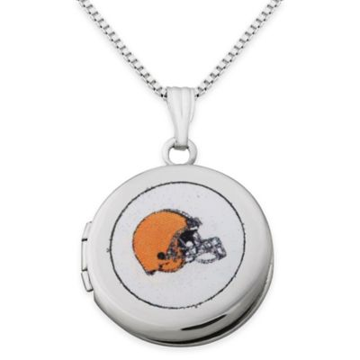NFL Cleveland Browns Sterling Silver 18-Inch Chain 16mm Round Team Logo Locket Necklace