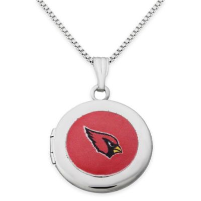 NFL Arizona Cardinals Sterling Silver 18-Inch Chain 16mm Round Team Logo Locket Necklace