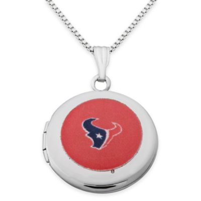 NFL Houston Texans Sterling Silver 18-Inch Chain 16mm Round Team Logo Locket Necklace