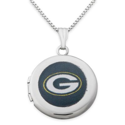 NFL Green Bay Packers Sterling Silver 18-Inch Chain 16mm Round Team Logo Locket Necklace