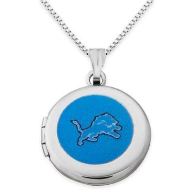 NFL Detroit Lions Sterling Silver 18-Inch Chain 16mm Round Team Logo Locket Necklace