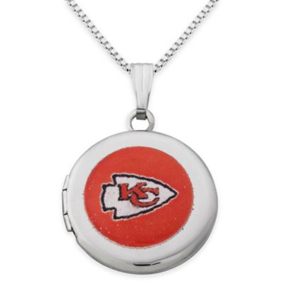 NFL Kansas City Chiefs Sterling Silver 18-Inch Chain 16mm Round Team Logo Locket Necklace