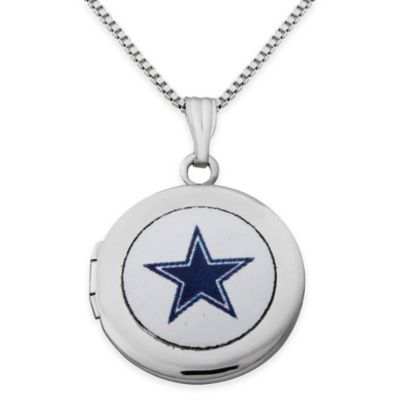NFL Dallas Cowboys Sterling Silver 18-Inch Chain 16mm Round Team Logo Locket Necklace