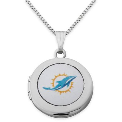 NFL Miami Dolphins Sterling Silver 18-Inch Chain 16mm Round Team Logo Locket Necklace